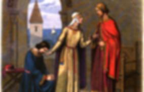 Richard pardoning his rebellious brother John