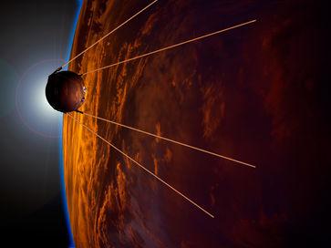 Sputnik 1 orbiting an artists impression