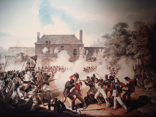 British & French soldiers fighting at Waterloo