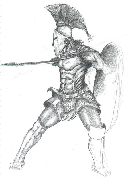 An artists impression of a Spartan warrior