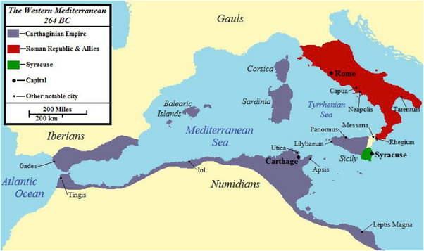 Map of Rome and Carthage prior to the First Punic War