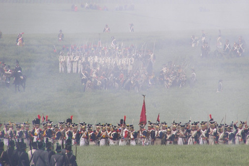 French soldiers at the Battle of Waterloo