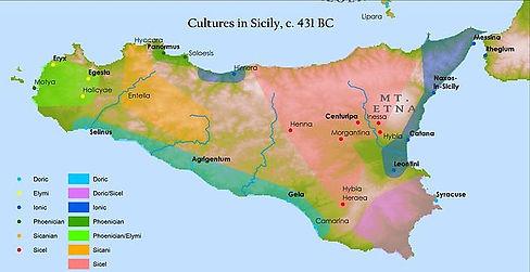 Cultures in Sicily c. 431 BC map