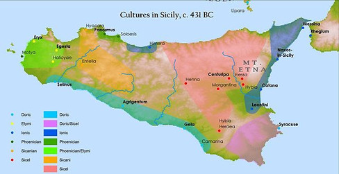 Cultures in Sicily c. 431 BC map