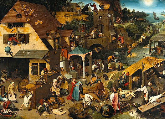 A medieval town with peasants