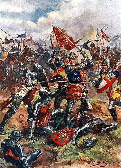 King Henry fighting at the battle of Agincourt