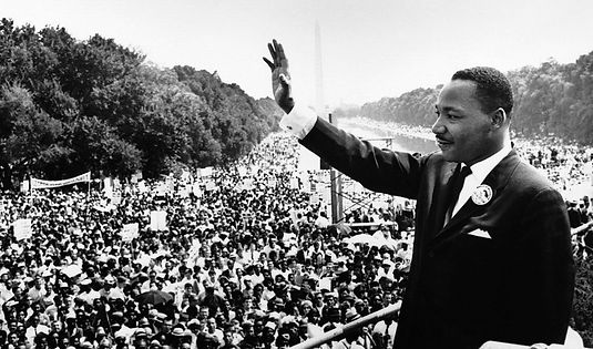 Martin Luther King speaking to a crowd
