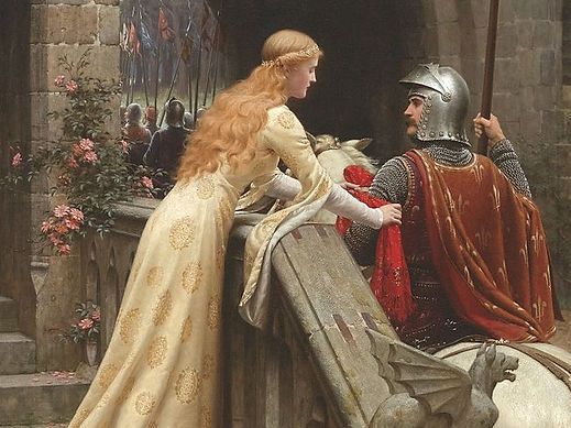 A lady ties a handkerchief around the arm of a knight
