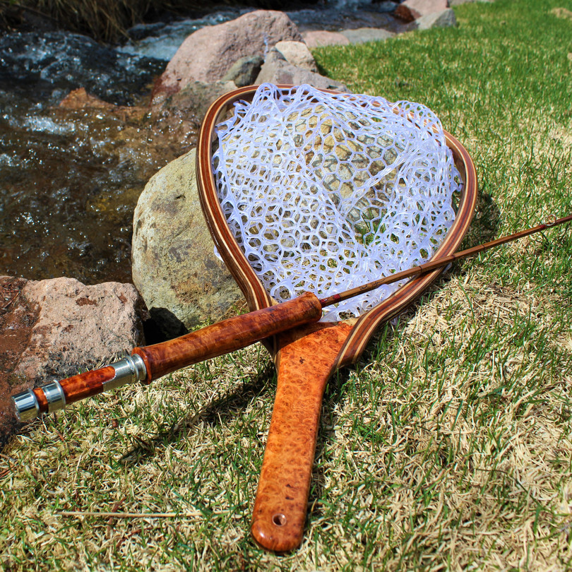 Amboyna Burl Landing Net and Rod Base