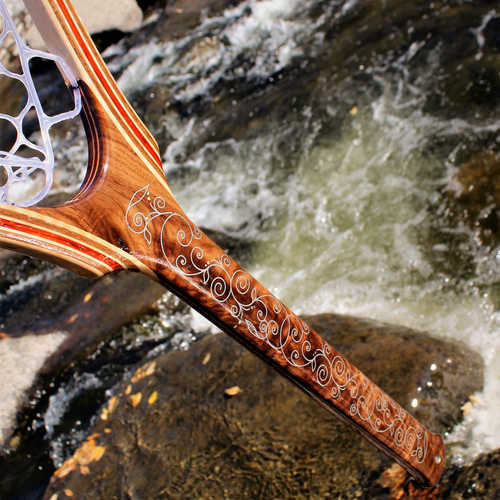 Filigree Inlaid Walnut Handle Landing Net