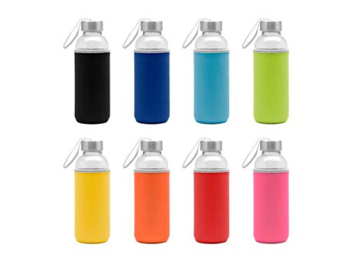00512     Botella de vidrio con funda