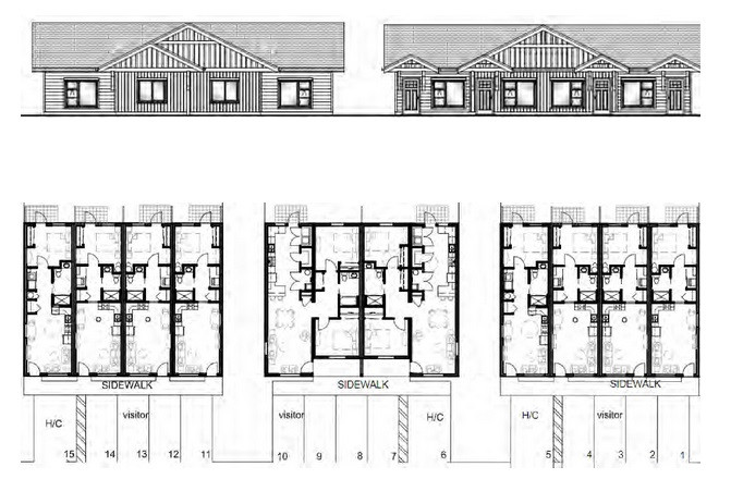 Proposed floor plans and conceptual Eastern elevation views for Hemlock Place project