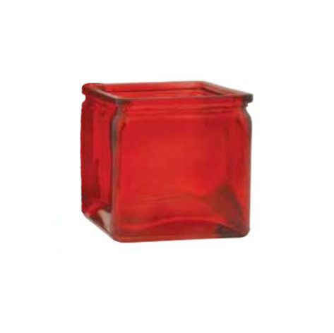 red machine glass cube