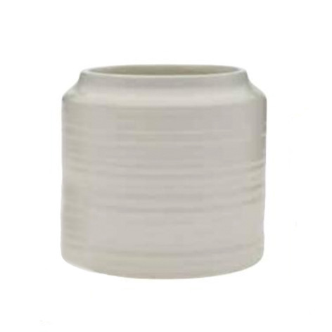 white ribbed pot