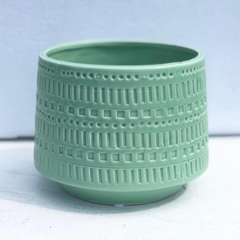 """5.5"""" etched pot, mint"""