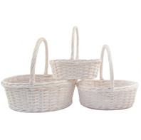 oval white wash basket set