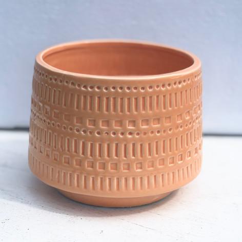 "5.5"" etched pot, orange"