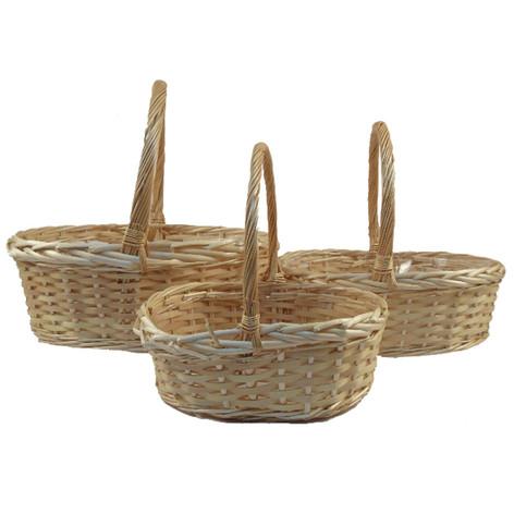 oval natural basket set