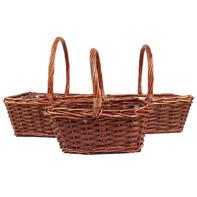 rectangular brown basket set