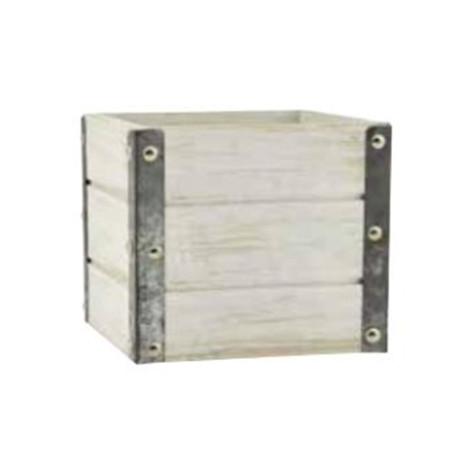 white wood & metal cube