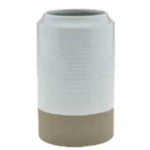 white ribbed dipped vase