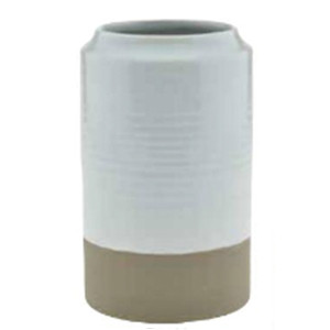 white ribbed dipped vase