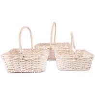 rectangular white basket set