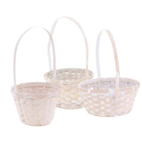 small round white basket set