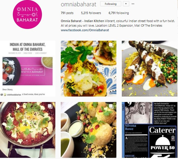 Communique Digital Client Instagram Account - Omnia Baharat