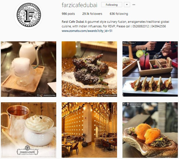 Communique Digital Client Instagram Account - Farzi Cafe Dubai