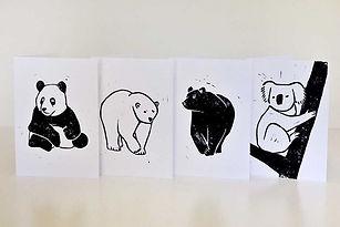 Hand printed bear design cards handmade in Cornwall