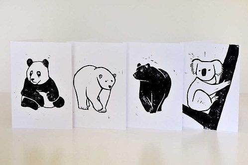 Four Bears Card Set