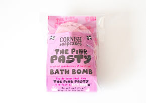 Pink Cornish Pasty shaped bath bomb, organic natural ingredients made in Cornwall