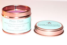 Pixie dust scented pink purple soy wax vegan plastic free tin candle made by Cornish Coastal Candles in Cornwall