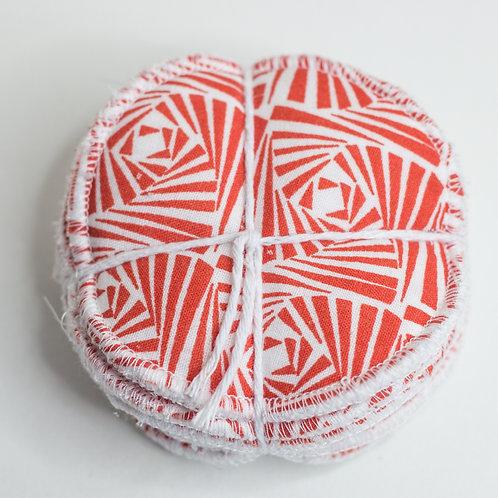 Burnt Orange Pattern Reusable Make Up Pads- 8 Pack