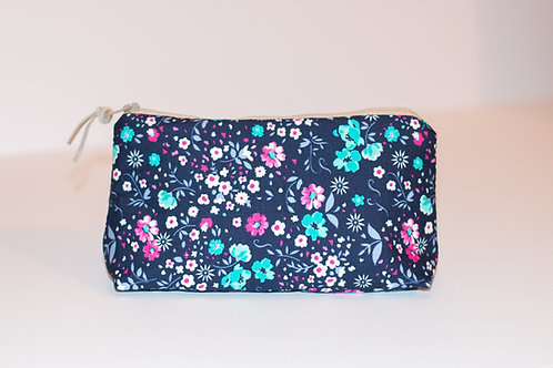 Blue and Pink Upcycled Zip Up Pouch Bag