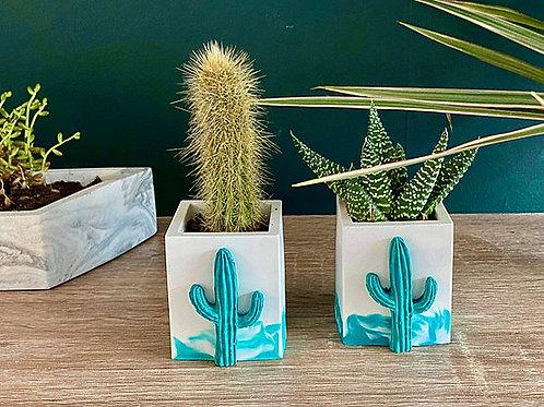 Teal and White Mini Cactus Pot