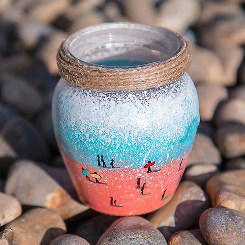 Hand Painted Pen Pot- Blue and Pink Sea Spray