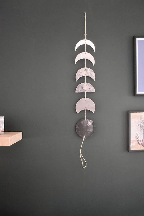 Grey and White Moon Phase Wall Hanging