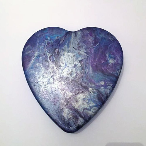 Blue and Purple Marble Effect Hand Made Acrylic Poured Tin