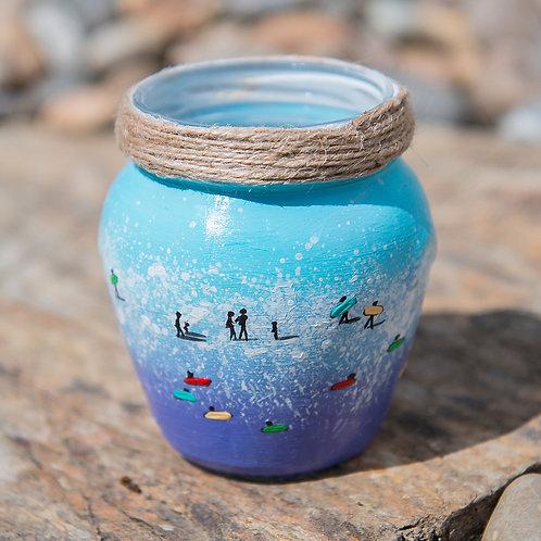Hand Painted Pen Pot- Seaside Blue