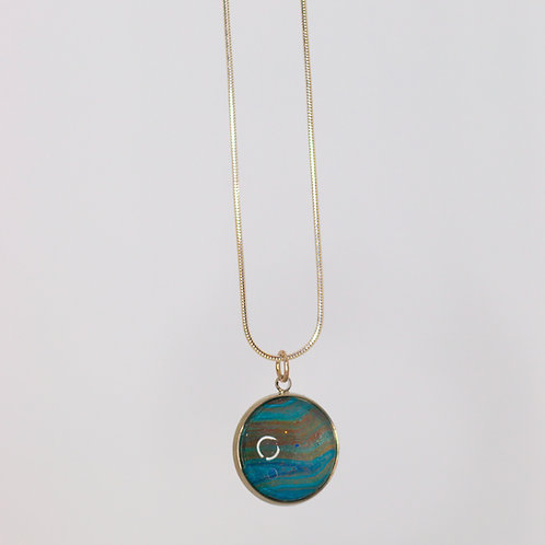 Acrylic Pour Necklace- Blue Collection