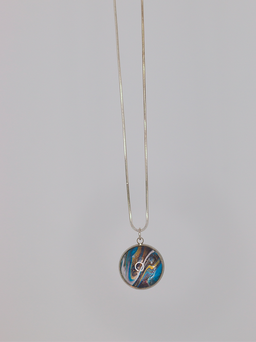 Acrylic Pour Necklace- Blue Swirl
