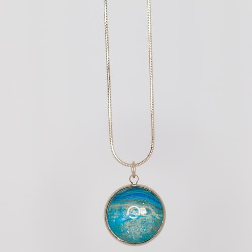 Acrylic Pour Necklace- Blue Sky