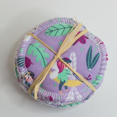 Purple Fairy Pattern Reusable Make Up Pads- 8 Pack