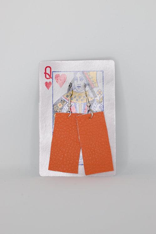 Upcycled Leather Earrings- Orange