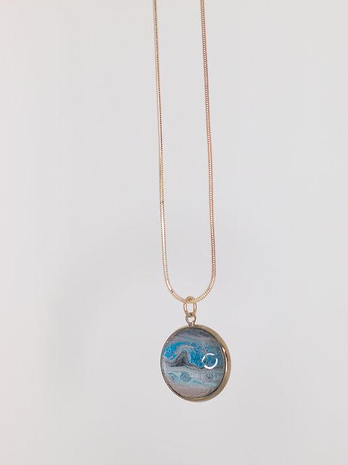 Acrylic Pour Necklace- Blue Lake
