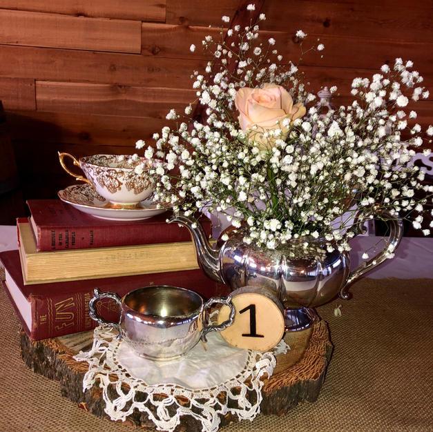Shabby Chic  Antique books & Tea Pot Centrepiece