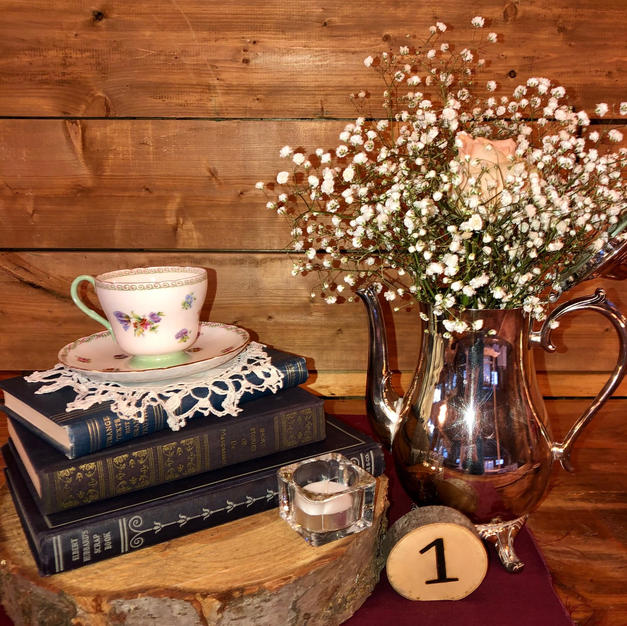 Shabby Chic Silver tea pot centrepiece