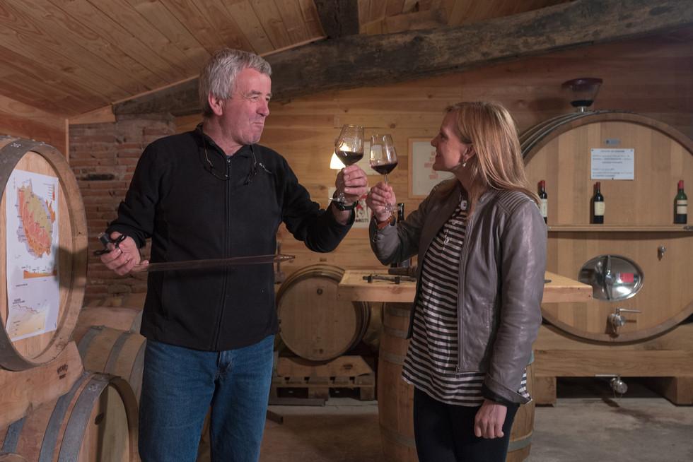 Chateau-Plaisance-Laine-&-Marc-toasting.